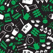 Tuin groen, wit en zwarte naadloze patroon eps10 — Stockvector