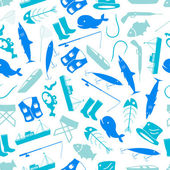 Fishing icons blue and white pattern eps10 — Vector de stock