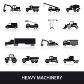 Heavy machinery icons set eps10 — Vettoriale Stock