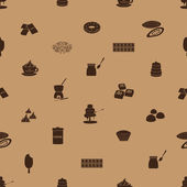 Chocolate icons seamless brown pattern eps10 — Vector de stock