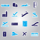 Airport stickers set eps10 — Stock Vector