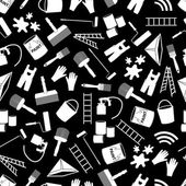 Paint icons black and white seamless pattern eps10 — Stok Vektör
