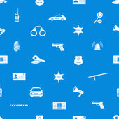 Police icons blue and white seamless pattern eps10 — Stock Vector