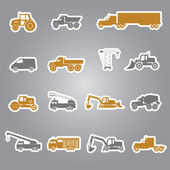 Heavy machinery stickers set eps10 — Stock Vector