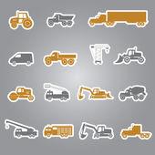 Heavy machinery stickers set eps10 — Stock Vector