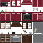 Kitchen unit set with equipment eps10 — Stock Vector