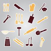 Home kitchen cooking utensils stickers eps10 — Stock Vector