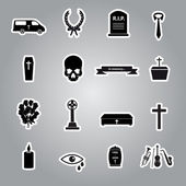 Funeral stickers set eps10 — Stock Vector