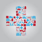 Hospital and sick icons in cross eps10 — Vector de stock