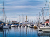 Yachts moored in the marina in Lanterna — Stock Photo