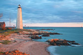 New Haven's lighthouse at sunset — Stock Photo