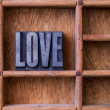 Typesetter drawer: 'LOVE' — Stock Photo