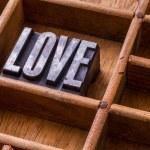 Typesetter drawer: 'LOVE' — Stock Photo