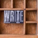 Typesetter drawer: 'WRITE' — Stock Photo