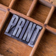 Stock Photo: Typesetter drawer: 'PRINT'