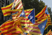 Catalan secessionist flags — Stock Photo