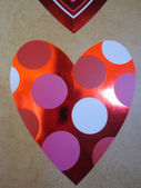 Heart-with-polka-dots-inside-red-pink-white-for Valentine's Day wishes — Stock Photo