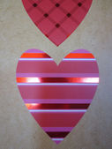 Valentines-day-heart-with-horizontal-bars-glossy-red-pink-fuchsia-white — Foto Stock