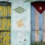 Graffiti of cuban flag and patriotic sign — Stock Photo