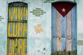 Graffiti of cuban flag and patriotic sign — Stock Photo