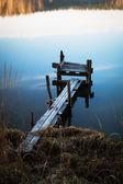 Puente de madera sobre el río — Foto de Stock