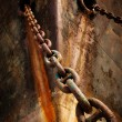 Prow old ship with anchor chain — Stock Photo