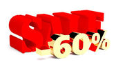 Red word Sale and golden 60 percent — Stock Photo