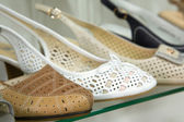 Rows of beautiful women's shoes on store shelves. — Stock Photo