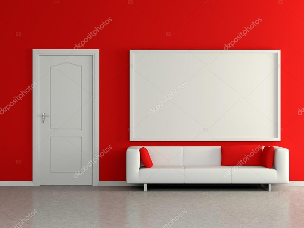Modern Home Interior With Sofa Red Wall And Painting 3d
