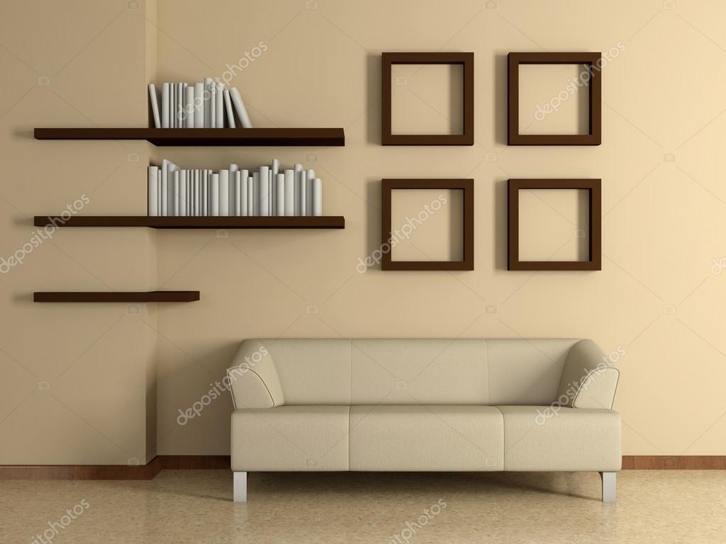 Interior casa moderna con sof estanter as para libros y - Cuadros para casas modernas ...