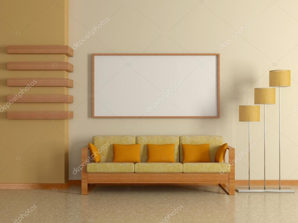 Modern home interior with sofa beige wall and painting for Pintura interior color arena