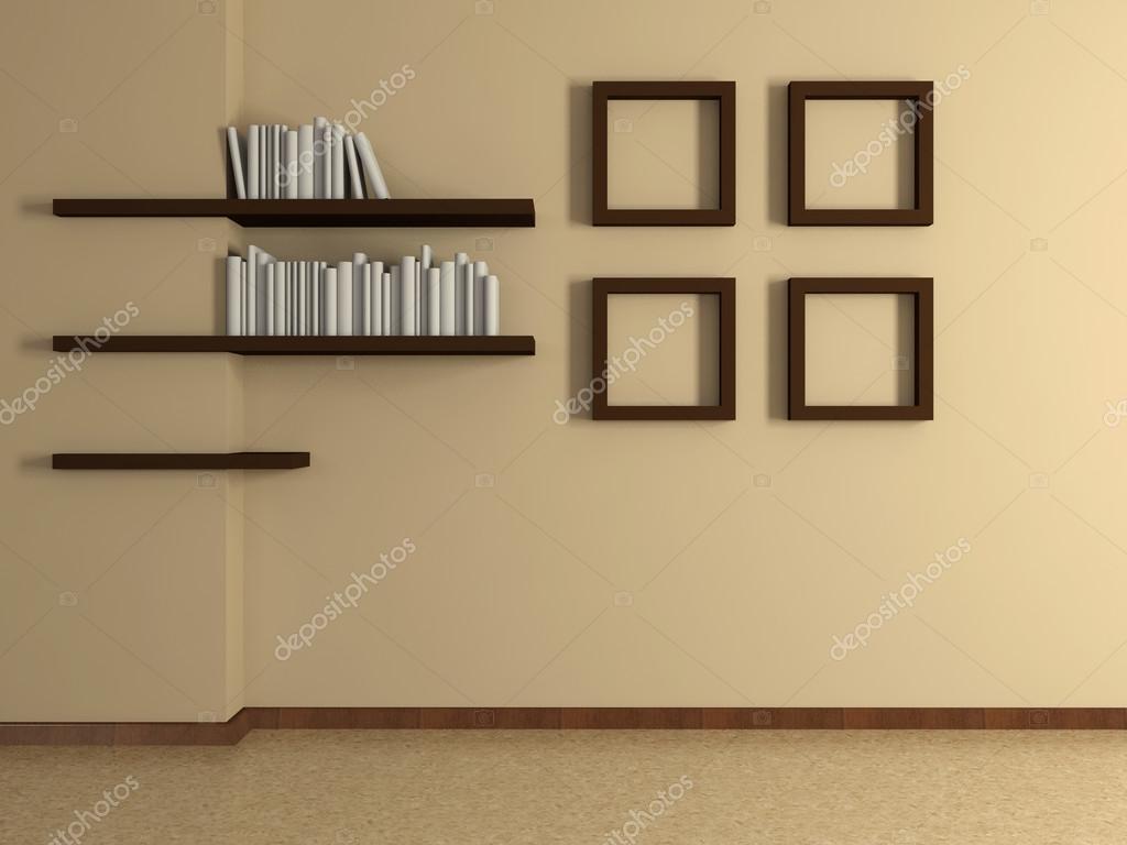 Estantes interiores casa moderna con cuatro pinturas y el for Pinturas casas modernas interiores