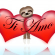 Stock Vector: Ti amo with the sloth