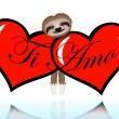 Ti amo with the sloth — Vector de stock