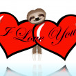I love you with the sloth — Vettoriale Stock