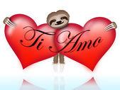 Ti amo with the sloth — Stock Vector