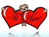 Ti amo with the sloth — Stock Vector
