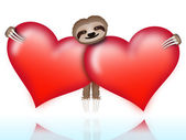 Sloth on Valentine's Day — Stock Vector