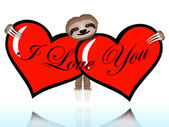 I love you with the sloth — Stockvector