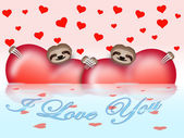 Valentine's day composition with sloths — Stock Vector