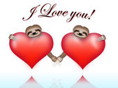 Couple sloths on Valentine's Day — Vector de stock