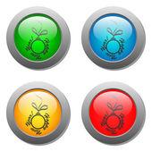 Christmas ball glass button set — Stock Vector