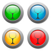 Goblet icon glass button set — Stock Vector