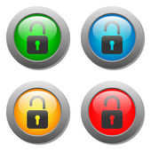 Open lock icon on glass buttons — Stock Vector