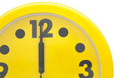 Close up Yellow wall clock — Stock Photo