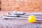 Still life Yellow Miniature Golf Ball On White Background. — Stock Photo