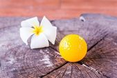Still life Yellow Miniature Golf Ball — Stock Photo