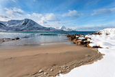 Sandy beach in winter Norway — Stock Photo