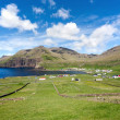 Stock Photo: Famjin, Faroe Islands. Peaceful village surrounded by unspoilt n