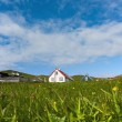 Stock Photo: Remote village of Mykines, Faroe Islands, in summer day